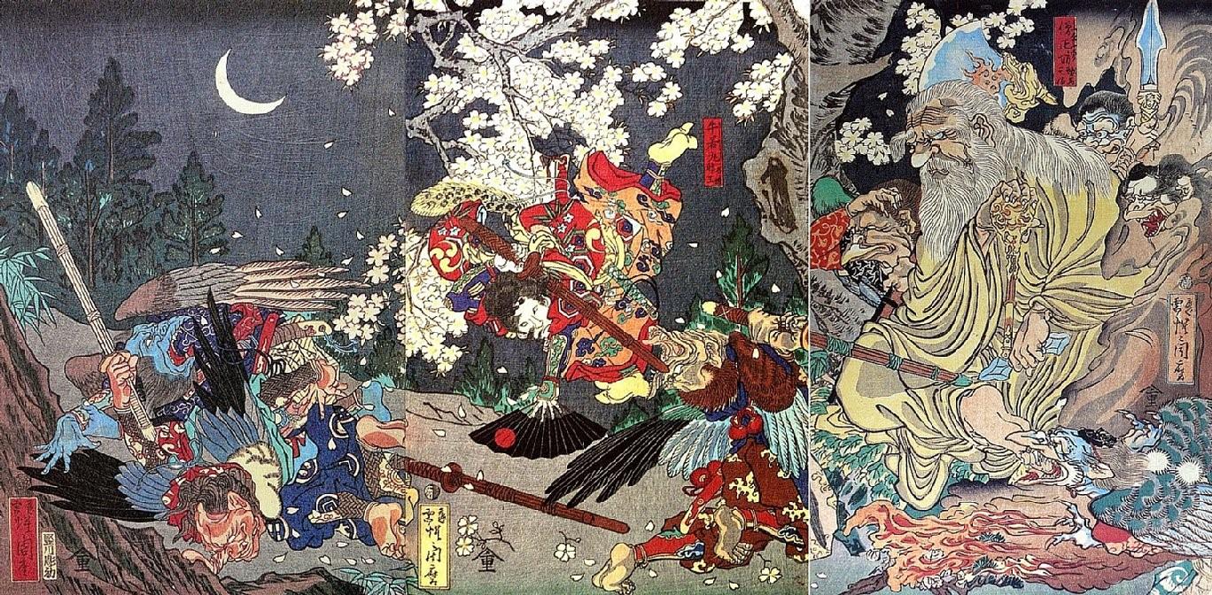 Ilustração complexa de Yokais do misticismo japonês